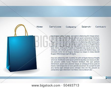 Website Template With Blue Paperbag