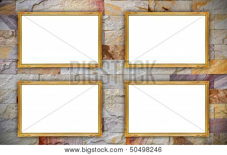 Wooden Photo Frame On Old Wall