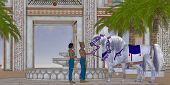 stock photo of pharaoh  - An Egyptian Pharaoh takes pleasure in his Arabian horses in the courtyard of his palace - JPG