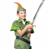 stock photo of fletching  - Young Robin Hood with a sword isolated over white - JPG