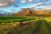 stock photo of iceland farm  - Nice mountain Iceland country  - JPG