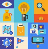 stock photo of internet-banking  - Flat design vector illustration icons set of internet marketing product and e - JPG