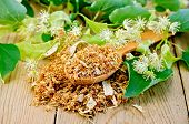 foto of linden-tree  - Wooden spoon with dried flowers of linden fresh linden flowers with leaves on a background of wooden boards - JPG
