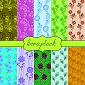 set of seamless of ten patterns for scrapbook