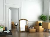 stock photo of baseboard  - interior scene of flat on the day of moving in - JPG