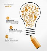 stock photo of creativity  - creative splash pencil and bulb with school icons set illustration - JPG