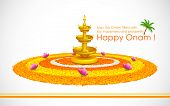 stock photo of pookolam  - illustration of Happy Onam decoration with diya and rangoli - JPG