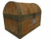 stock photo of treasure chest  - 3d render of closed treasure chest - JPG