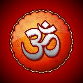 stock photo of sanskrit  - Om Sanskrit symbol in round frame on red background - JPG