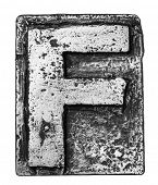 stock photo of alloy  - Metal alloy alphabet letter F - JPG