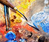 stock photo of paint palette  - Artistic equipment - JPG