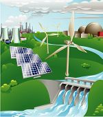 stock photo of hydro-electric  - Conceptual illustration showing many different types of power generation including nuclear fossil fuel wind power photo voltaic cells and hydro electric water power - JPG