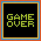 Game Over Message Written In Pixel Blocks