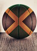 stock photo of jamaican flag  - Close up of an old leather basketball with Jamaica flag - JPG