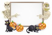 stock photo of witch  - Halloween sign or banner with orange Halloween pumpkins and black witch - JPG
