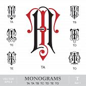 Vintage Monograms TA TA TB TC TD TE TO