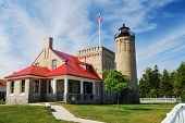 Old Mackinac Point Lighthouse with Stars and Stripes