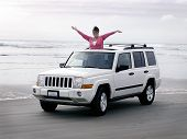 Happy Lady In Suv
