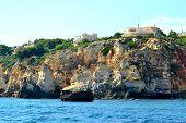 stock photo of vilamoura  - Cliffs Baleeira Albufeira in the Algarve Portugal  - JPG