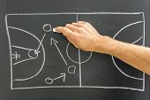 stock photo of offensive  - Closeup of coach drawing basketball game strategy on black board - JPG