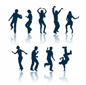 image of person silhouette  - dancing people 9 silhouettes - JPG