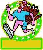 picture of wild turkey  - Illustration of a wild turkey run trot running runner viewed from side set inside circle done in cartoon style on isolated white background - JPG