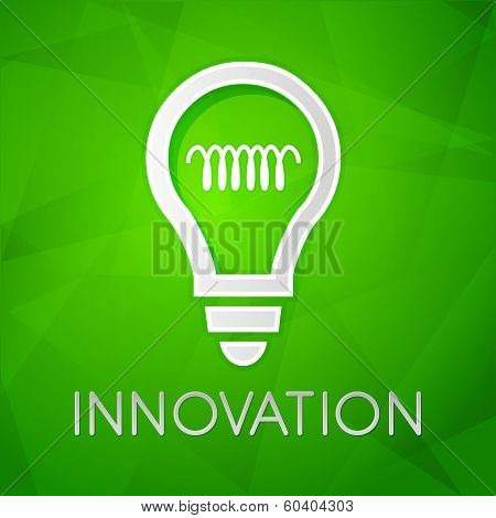 Innovation And Light Bulb Sign Over Green Background, Flat Design