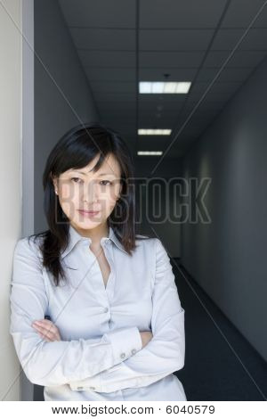 businesswoman near the door