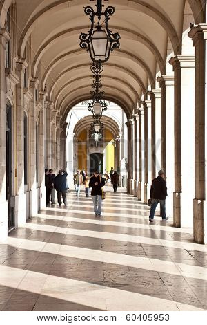 Lisbon, Portugal - February 01, 2013: Arcades of the famous Comercio Square, one of the landmarks of the Portuguese capital.