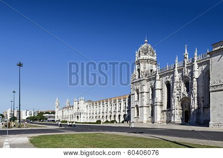 Lisbon, Portugal. December 02, 2013: Jeronimos monastery. Classified as UNESCO World Heritage it stands as a masterpiece of the Manueline art.