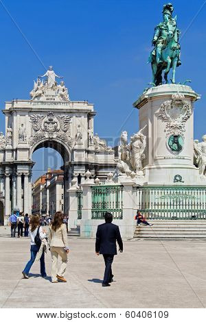 Lisbon, Portugal - April  14, 2013: Commerce Square with the iconic Triumphal Arch and King Dom Jose I statue in Lisbon Baixa (Downtown) District