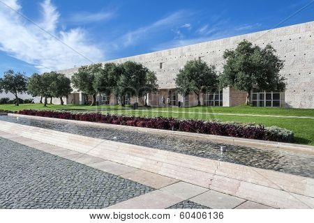 Lisbon, Portugal - November 05, 2013: Olive-Trees Garden in CCB - Centro Cultural de Belem (Belem Cultural Center). Major museum and cultural center.