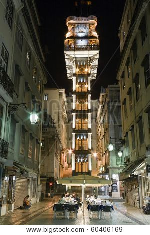 Lisbon, Portugal - July 10, 2013: Santa Justa elevator in the Baixa District. 19th cent. project by Raul Mesnier de Ponsard (Gustave Eiffel disciple).