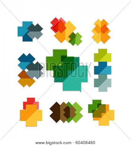 Set of cross geometric shapes - symbols | templates for business background | numbered banners | business lines | graphic website. Raster version