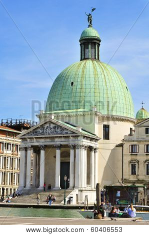 VENICE, ITALY - APRIL 13: A view of the Chiesa de San Simeone Piccolo in the Grand Canal on April 13, 2013 in Venice, Italy. Facing the railroad terminal, it is a monument widely seen in the city