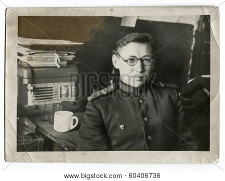 MOSCOW, USSR - CIRCA 1950s : An antique photo shows communications officer.