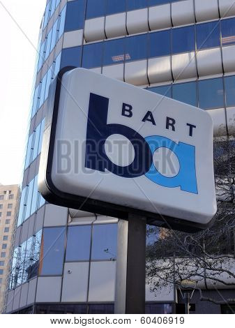 Bart Sign Marks Station In Oakland, California