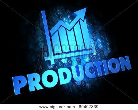 Production Concept on Dark Digital Background.