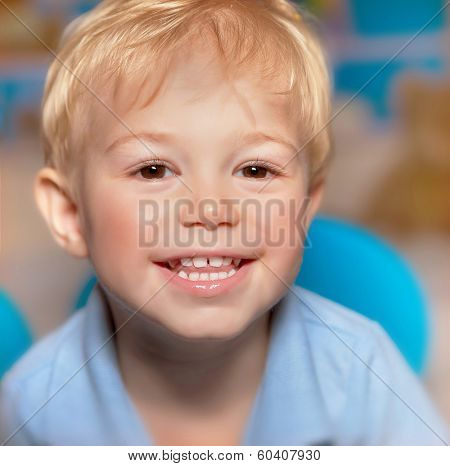 Closeup portrait of cute little smiling boy, have fun, healthy teeth, happy childhood, adorable child with sweet smile