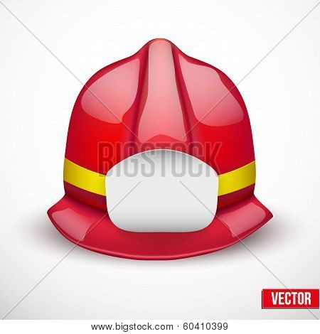 Red fireman helmet vector illustration