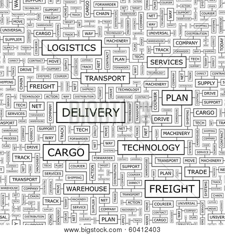 DELIVERY. Seamless pattern. Word cloud illustration. Vector illustration.