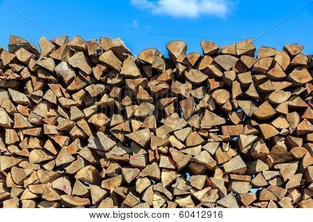 Logs Of Wood  Piled Together In Lumber-mill