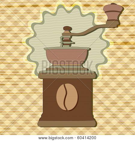 Coffee Grinder In Vintage Style Vector