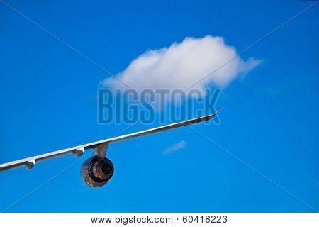 Airplane wind and turbine with a single white cloud