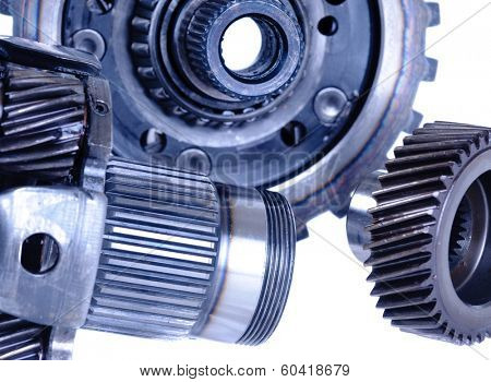 used automotive gears isolated on white