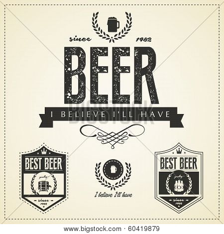 Beer Emblems And Labels  - Vintage Style
