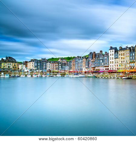 Honfleur Skyline Harbor And Water Reflection. Normandy, France