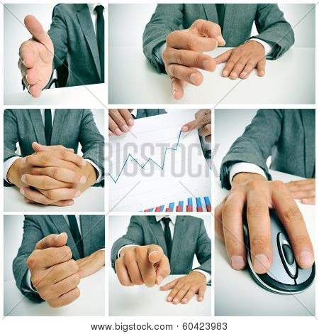 a collage of different pictures of a businessman working in his office and showing a graphic of benefits
