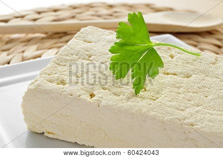 closeup of a block of tofu in a plate on a worktop