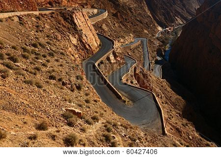 Snake like serpent road  in Dades Gorge, Morocco.  Boulmane de Dades